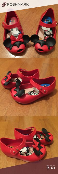 Mini Melissa Ultragirl + Disney Twins II Red Sz 6 Adorable authentic Mini Melissa Ultragirl + Disney Twins II in red!! Worn a few times to the Disney theme parks but still has plenty of mileage for your little girl!! The Minnie and Mickey ears are in perfect condition and it still has it's well known sweet fruity smell. Toddler size 6. Mini Melissa Shoes