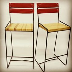 These custom designed barstools were just delivered to their new home at the head office. Recycled fire hose and wood off-cuts paired with a slim steel frame make these barstools truly one of-a-kind. Fire Hose, Bench Stool, Sustainable Design, Steel Frame, Bar Stools, Repurposed, Custom Design, New Homes, Slim