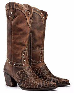 f585d2cfbdea3 Bota Texana Escamada Country Feminina Montaria Capelli Boots -