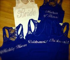 6 Bridesmaid Lace Tank. Bride v-neck Lace Tank Tops. Maid of honor lace tank. Matron of honor. Wedding party tee shirts. Royal Blue Bride. on Etsy, $72.00