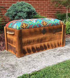 """Barnwood Hope chest - Toy box - Entryway bench - Storage bench - Cushioned bench - Storage Chest - 35""""x16""""x18"""" - Barnwood Chest by TheDavidsonDesign on Etsy https://www.etsy.com/listing/456890738/barnwood-hope-chest-toy-box-entryway"""