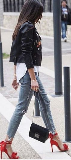 #spring #summer #street #style #inspiration | Patched Leather + White + Denim + Pop Of Red                                                                             Source