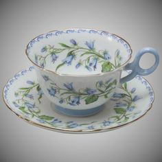 Shelley Tea Cup Teacup & Saucer - Harebell : English Bone China Teacup w/ Delicate Blue Flowers