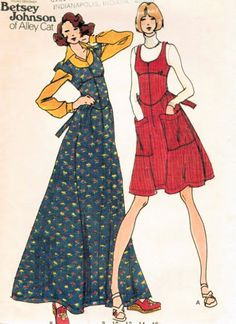 1970s BETSEY JOHNSON  ALLEY CAT JUMPER DRESS PATTERN 2 VERSIONS, LARGE POCKETS BUTTERICK 3848