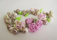 Rose garden bracelet  Custom polymer clay handmade rose by byMiSt