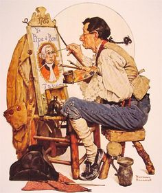 I love this Rockwell Painting from 1948 - fabulous in and of itself, but it also foreshadows the triple self-portrait of 1960.  Did this give him the idea?  Or did he already have the self-portrait idea and was just trying out some ideas?