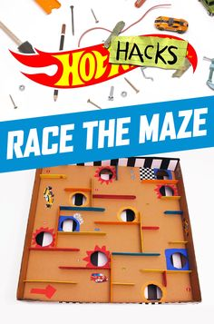 This epic Hot Wheels Labyrinth challenges kids to race to the finish and problem solve along the way. All your kids need to build their own maze is a pizza box, art supplies and popsicle sticks. Watch our DIY Hot Wheels Hot Hacks video to find out how kids can make this at-home activity.