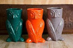 Ceramic owl vases with awesome retro style! Love those colors. - $24.95 at Earthbound
