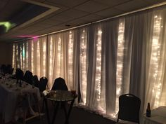 40 feet of lighted white curtain at Lawrence Park Golf Club rented from Ed at Erie Uplighting 814-873-5100
