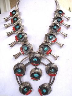 Vintage NAVAJO Sterling Silver Turquoise & Branch Coral SQUASH BLOSSOM Necklace