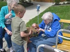 Visits and sharing from the young to the old shows kindness and respect.