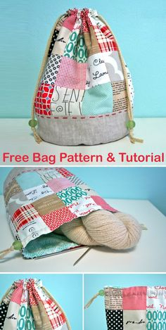 Fabric Bags, Fabric Scraps, Bag Patterns To Sew, Sewing Patterns, Sewing Machine Basics, Sewing Crafts, Sewing Projects, Drawstring Bag Tutorials, Small Knitting Projects