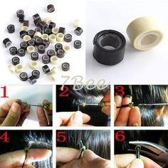 1000Pcs/Bottle Round Beads 5.0x3.0x3.0mm Silicone Micro Rings/Tubes/Links Extension Accessory Tools For Hat Making & Hair Crafts