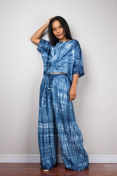 Matching indigo shibori set #nuichan #shopping #handdyed