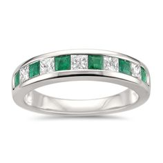 Montebello 14k Gold Ruby, Emerald or Sapphire and /2ct TDW Diamond Band