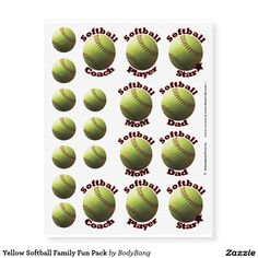 Yellow Softball Family Fun Pack Temporary Tattoos - $19.95 - Yellow Softball Family Fun Pack Temporary Tattoos - by #RGebbiePhoto @ #zazzle - #Softball #Sport #Game - Softball Coach, Softball Player, Softball Star, Softball Mom, Softball Dad, and a bunch of photo realistic mini yellow softballs! Show your support at the next game!
