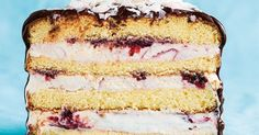 With layers of sponge cake and raspberry ice-cream, this cake is the perfect lazy summer dessert.