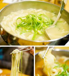 "Kalguksu (literally ""knife noodles"") is a Korean noodle dish consisting of handmade, knife-cut wheat flour noodles served in a large bowl with broth and other ingredients"