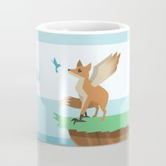 Enfield Mug - Enfield, fox, eagle, wings, hummingbird, bird, cryptid, mythical creature, urban legend, Lovable Legends, whimsical, cute, vector, art, design, illustration, cartoon, drawing