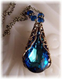 New Swarovski Bermuda Blue Crystal Teardrop by HisJewelsCreations, $32.00