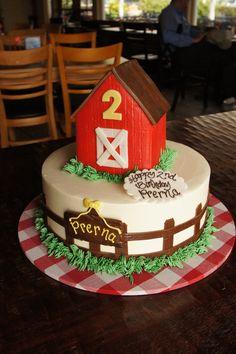 Tiered red barn birthday cake
