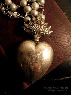 """""""rare 19th c. Sterling French Ex Voto suspended from dove grey freshwater pearls with Czech glass accents"""""""