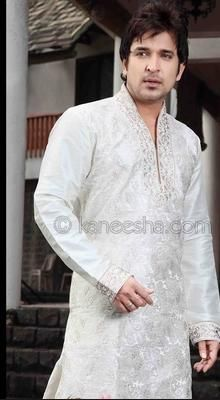 Off White Embellished Woven Silk Blend Kurta Set