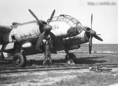 This Ju 388 L-1, c/n 340 284, was manufactured by ATG. Note that part of the canopy is lying on the ground in front of the aircraft.
