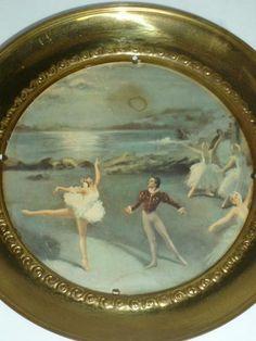 VTG Brass Ballerina Dancers Ballet Lake England Plate Glass Round Wall Hanging