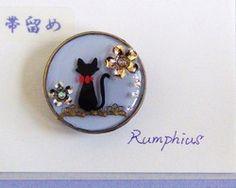 黒猫と花モチーフの帯留♪ (受注製作)