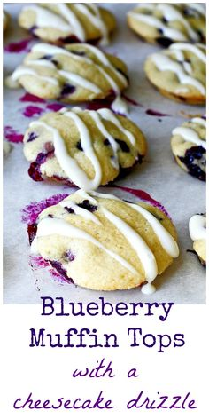 This Blueberry Muffin Tops with a Cheesecake Drizzle recipe makes a delicious treat for any time! Quick Bread Recipes, Muffin Recipes, Brunch Recipes, Breakfast Recipes, Dessert Recipes, Cooking Recipes, Top Recipes, Breakfast Bites, Fruit Recipes