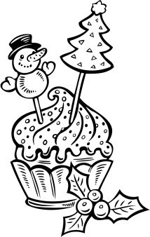 printable christmas cake cup coloring pages - Printable Coloring Pages For Kids
