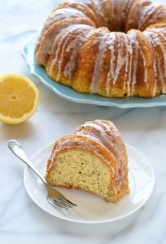 A recipe for moist and fluffy Lemon Poppy Seed Cake, baked in a bundt pan and topped with creamy lemon glaze. LR notes: didn't use the whole wheat pastry flour will next time. Lemon Dessert Recipes, Desert Recipes, Baking Recipes, Cupcake Recipes, Bread Recipes, Poppy Seed Cake, Best Breakfast Recipes, Brunch Recipes, Cupcake Cakes
