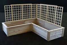 L shaped garden bed with trellis - Google Search