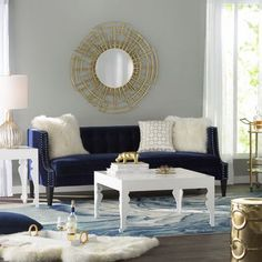Get inspired by Glam Living Room Design photo by Wayfair. Wayfair lets you find the designer products in the photo and get ideas from thousands of other Glam Living Room Design photos. Blue And Gold Living Room, Navy Living Rooms, Glam Living Room, Living Room Grey, Living Room Sofa, Living Room Furniture, Blue Velvet Sofa Living Room, Living Room Color Schemes, Living Room Designs