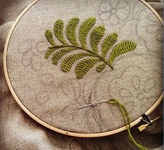 The beginning. Pattern is drawn onto raw hemp. Stitches are kept basic, colour, symmetry and form are most important. Kasia Jacquot's embroidery.