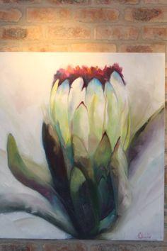 "Saatchi Art Artist Adele Fouche; Painting, ""Protea Joy"" #art Abstract Flowers, Watercolor Flowers, Protea Art, Protea Flower, Joy Art, Abstract Canvas Art, Encaustic Art, Ink Drawings, Leaf Art"