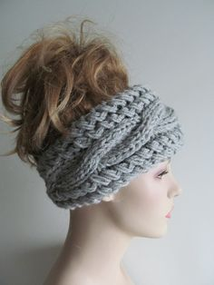 Grey Cable Headbands Knit Ear Warmers Button Gray Fall Accessories Headcovers Womens Girls Headwraps