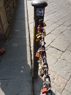 loverslocks near the ponte del vecchio Florence Italy