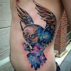 Galaxy Owl Side Tattoo | Best tattoo ideas & designs