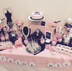 Coco Chanel inspired Candy Table! Pink, black, and white theme