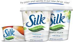 Find 'em in the yogurt aisle! Silk® almondmilk and soymilk yogurt alternatives are dairy-free, spoonable deliciousness. Yogurt Packaging, Dairy Packaging, Dairy Free Yogurt, Powdered Milk, Brand Names, Allergies, Packaging Design, Vanilla, Vegan Breakfast