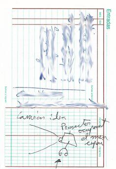 """Apunte. Projecte d'installació: Ocupant el meu espai 001   Apunte  """"Projecte d'installacio: ocupant el meu espai 001""""  Proyecto de instalación: Ocupando mí espacio 001  Bolígrafo sobre papel  153 x 105 cm  2004  Bilbao  apunte: instalación libro 2004-01 / 2004-06"""