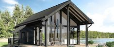 Moderni hirsitalo Iniö Sauna Kits, Prefab Cabins, Gazebo, House Plans, Construction, Outdoor Structures, Architecture, Outdoor Decor, Modern Houses