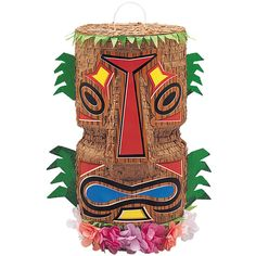 Tiki Pinata Sold Single Approx Size: Height: 18 Inch (45.7cm) Width: 9 Inch (22.9cm) Great fun for any Tropical, Hawaiian and Luau themed party. It is Empty