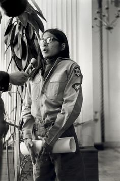 Overcoming exhaustion and disillusionment, Atha Rider Whitemankiller, Cherokee, stands before the press at the Senator Hotel in San Francisco after the removal of the last Indian occupiers from Alcatraz on June 11, 1971. His eloquent words about the purpose of the occupation of Alcatraz Island—to publicize his people's plight and establish a land base for the Indians of the Bay Area—were the most quoted of the day.
