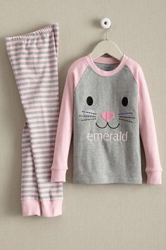 Personalized Hoppy Bunny Pj's for Kids. Add your child's name to this cute Easter bunny themed pajamas in pink and grey with stripes!