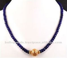 Single Strand Blue Sapphire Beaded Necklace with Gold Foil Bead, View Ceylon Sapphire, Blue Sapphire Necklace Product Details from BELLO JEWELS PVT LTD on Alibaba.com