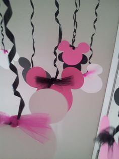 Minnie Mouse Birthday Party Decorations, 18 streamers by welcometomystore on Etsy https://www.etsy.com/listing/162587348/minnie-mouse-birthday-party-decorations