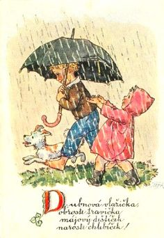 MKF - Marie Kvechova-Fischerova Vintage Cards, Vintage Postcards, Vintage Images, Retro Kids, Windy Day, Rainy Days, Rainy Day Pictures, Illustrator, Rain Art